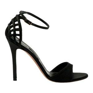 Baldan Ankle Strap Cutout Pump Heels Black